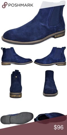 """NEW Mens Bruno 'Urban' Suede Leather Chukka Boot NEW   Men's Slip on No Lace Chelsea Boots Chukka Boot Color: Navy  Features:  Suede Leather Durable Sole Heel measures approx 1"""" Platform measures approx 0.5"""" Slip On Plain Toe  Elastic Side Panel Flexible and Comfort Chukka Boot  Pull off an Edgy and Comfort look with these Casual Chelsea Boots. Easy on and off with a Cushioned Footbed for Comfort and a non skid outsole. A must have for your wardrobe.   @alexambrands ALexam alexam-burb06n…"""