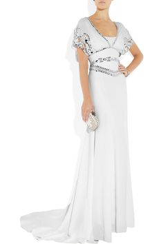 Temperley London's white silk-crepe gown with intricate silver sequin and crystal-embellished cutouts