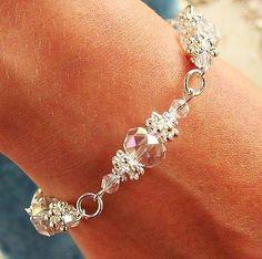 N / Flower Bracelet Kit Crystal AB Rondelle Beads on Silver Jewellery Making for sale online Bead Jewellery, Crystal Jewelry, Wire Jewelry, Jewelry Crafts, Wedding Jewelry, Beaded Jewelry, Jewelery, Jewelry Bracelets, Silver Jewelry