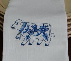 Delft Blue Cow Cotton Huck Kitchen Towel by TheBridesHopeChest, $9.00