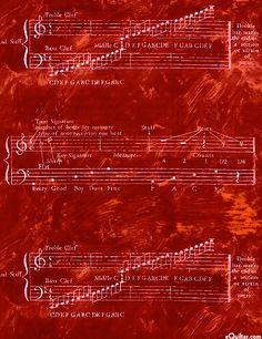 Fabric ~ Rhapsody Staffs & Scales in garnet