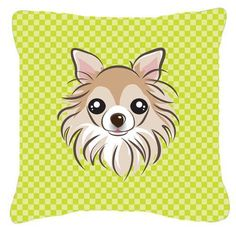 Checkerboard Lime Green Chihuahua Canvas Fabric Decorative Pillow BB1313PW1414