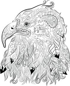40 adult colouring pages to download, print and color- Digital download of ChanDraws Mind Escape Adult Coloring Book- Intricate drawing of an eagle
