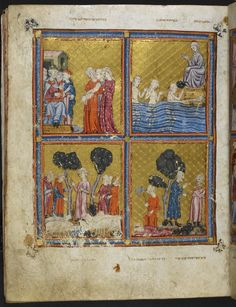 Full-page miniature, upper right: Moses' sister, Miriam seated on a hilltop watching the baby Moses, Pharaoh's daughter finding Moses (Ex. 2:4-6), upper left: Pharaoh's daughter presenting Moses to Pharaoh, lower right: an Egyptian smiting an Israelite, Moses slaughtering the Egyptian (Ex. 2:11-12), lower left: Moses saving the daughters of Midian (Ex. 2:17).  Origin:	Spain, N. E., Catalonia (Barcelona?)