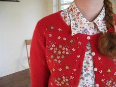 Vintage inspired embroidered cardigan