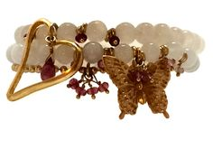 Bead Bracelets with Pink Tourmaline and Gold Open Heart and Butterfly Charms