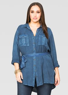 Belted Rayon Denim Tunic - Ashley Stewart