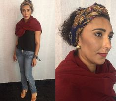 A Rose Rodrigues escolheu o lenço (que não lembra onde comprou) pra complementar o look! Blusa foi feita por ela, calça é Colcci e salto Arezzo