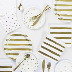 Gold Foil 73-Piece Party Supply Kit In White - Go ultra chic at your next party with the Gold Foil Party Supply Kit. This kit features a color scheme of white and stylish metallic gold foil stripes and polka dots for an elegant look perfect for birthday parties, baby showers, and more. Hawaiian Party Decorations, Gold Party Decorations, Engagement Party Decorations, Birthday Party Decorations, Prom Decor, Golden Birthday Parties, Gold Birthday Party, Birthday Ideas, 9th Birthday