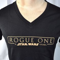 "Special, tasteful merchandise culled from Lucasfilm and not widely available. ""Rogue One -A Star Wars Story"" Ladies V-Neck T-Shirt. NECKLINE TO HEMLINE MEASUREMENT (length down back): 27.5 in / 70 cm. 