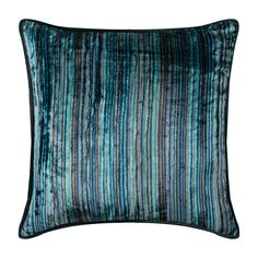 """Decorative Striped Throw Pillow Cover, 16""""x 16"""" Blue Velvet Couch Pillow Cover Striped Textured Sofa Pillow - Electric Stripes"""