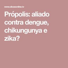 Própolis: aliado contra dengue, chikungunya e zika? Dengue Chikungunya, Zika Virus, Pasta, Greatest Villains, Health Tips, Recipes, Log Projects, Pasta Recipes, Pasta Dishes