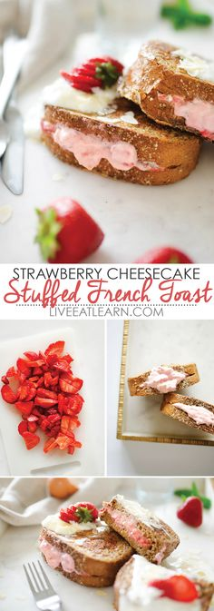 This Strawberry Cheesecake Stuffed French Toast recipe is healthy, easy, and SO tasty! Perfect for a weekend family breakfast treat, and totally flexible. Use any berries you happen to have! // Live Eat Learn