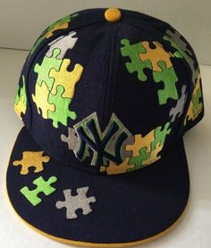 New York Yankees Hat Puzzle Pieces NY New Era 59Fifty FITTED 7 1 4 Navy  Yellow 913220391d