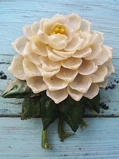 Vintage antique dahlia flower brooch.
