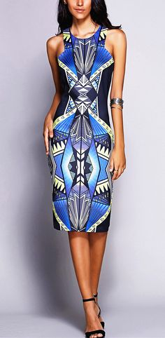 $12.85 Stylish Round Neck Geometric Sleeveless Midi Dress For Women