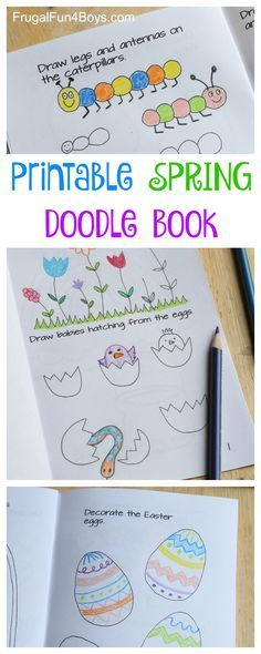 Printable Spring Doodle Book - Drawing and coloring activity for kids #spring #kidsactivities #artforkids