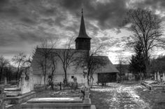 An old church from a cemetery in Boz village, Romania.