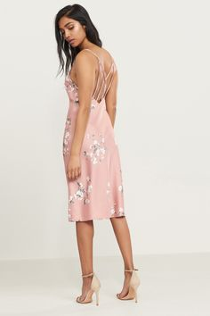Meet me in the middle. Floral Satin Midi Slip Dress