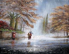 Jeff Rowland is a professional British painter who entered the fine art industry in 1984 having studied art at North Tyneside College. Pop Art Studio, I Love Rain, Rain Photo, Rain Painting, Rain Art, Umbrella Art, English Artists, Art Studies, Beautiful Landscapes