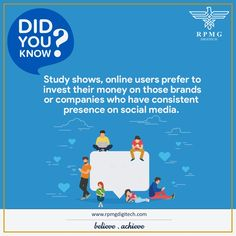 #DidYouKnow? In this digital era, consumers spend more time on the social media network. Facebook, Twitter, Instagram are the pivotal social media platforms through which your ideal consumers receive information about your brands.  So, amp up your online visibility and be there where your consumers are. #SMM #SocialMedia #SMO #RPMGDigitech