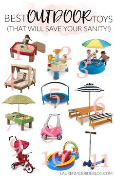 Looking to keep your kids occupied outside this summer? Check out the Best Outdoor Toys that help with gross and fine motor skills, and will save your sanity!, all summer long! toddler toys Mom + Baby // Outdoor Toys That Will Save Your Sanity This Summer Outdoor Toys For Toddlers, Best Outdoor Toys, Outdoor Baby, Outdoor Gifts For Kids, Backyard Toys For Kids, Outdoor Fun, Mama Baby, Mom And Baby, Toys For 1 Year Old