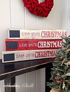 This Countdown to Christmas Shelf Block will be the perfect addition to any holiday display and fun for the whole family! These Christmas Shelf blocks are made from pine wood, painted, lightly distressed to give it that Shabby look . Christmas Blocks, Christmas Wood Crafts, Diy Christmas Gifts, Christmas Projects, Winter Christmas, All Things Christmas, Holiday Crafts, Christmas Holidays, Christmas Wreaths