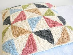 Mabel... pinwheel patchwork crochet cushion cover by emmalamb