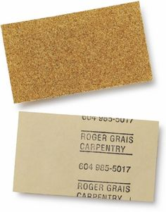 Cut business-card sized pieces of sand paper and use a stamp to mark the back. Use this idea with other unusual papers.   Graphic-ExchanGE - a selection of graphic projects.