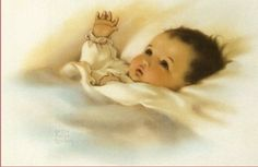 Bessie Pease Gutmann - Baby with the Golden Glow of Sweet Dreams. This picture hung in my childhood bedroom-love it. Images Vintage, Vintage Pictures, Vintage Postcards, Vintage Cards, Baby Images, Baby Pictures, Bessie Pease Gutmann, Dream Painting, Baby Cards