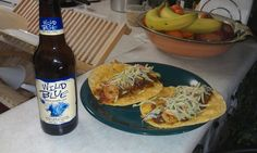 Shrimp tacos with Wild Blue Lager. Yum.