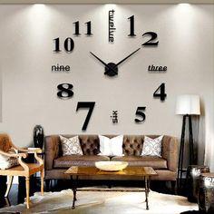 Digital Home Decoration Wall Clock Large Mirror Wall Clock Modern ...