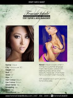 Book our fabulous female models in Toronto or Montreal to brighten up your event! Femme Fatale Media roster consists of beautiful and energetic models who are able to present your brand or event in a one-of-a-kind way! Promotional Model, Montreal, Vancouver, Bubbles, Models, Face, Cards, Beautiful, Faces