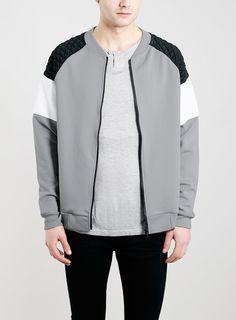 Grey Panel Oversized Fit Scuba Bomber Jacket - Men's Coats & Jackets - Clothing - TOPMAN