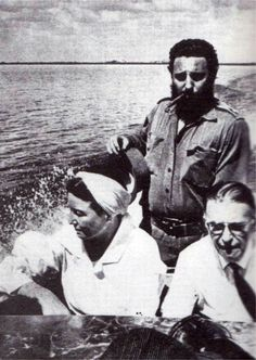 Simone de Beauvoir & Jean-Paul Sartre with Fidel Castro during their visit to Cuba in