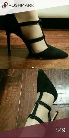 Charles David T-strap heels Suede Black Size 8 Charles David Shoes Heels