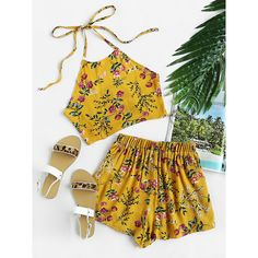 SheIn(sheinside) Floral Print Random Tie Open Back Crop Top With... (61 RON) ❤ liked on Polyvore featuring tops, yellow, yellow top, halter crop tops, halter top, halter neck tops and floral tops
