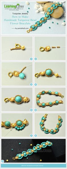 Turquoise Jewelry - How to Make Handmade Turquoise Bead Flower Bracelets