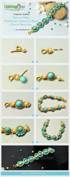 Turquoise Jewelry - How to Make Handmade Turquoise Bead Flower Bracelets