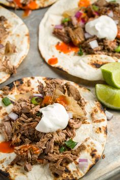 Slow-Cooker Beef Tacos  Throw a beef chuck roast—which has a strong beefy flavor and needs time to tenderize—an onion, and some spices in the slow-cooker before you head out for work—and come home to a Tex-Mex masterpiece.  Get the recipe from Delish.