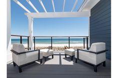 Gulf-front balcony at Here at Last beach house Navarre Beach Florida, Seaside Florida, Florida Home, Florida Beaches, Florida Rentals, Outdoor Furniture Sets, Outdoor Decor, House 2, Balcony