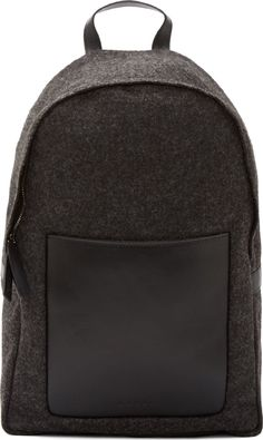 Marni: Charcoal Felt & Black Leather Backpack