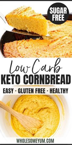 Low Carb Keto Cornbread Recipe Low Carb Keto Cornbread Recipe – Easy keto cornbread is the side your chili and soups need! My low carb almond flour cornbread recipe is made with a secret ingredient that makes it taste like the real thing. Keto Cornbread Recipe, Easy Keto Bread Recipe, Best Keto Bread, Lowest Carb Bread Recipe, Keto Corn Bread, Cornbread Recipe For Diabetics, Healthy Cornbread, Recipe List, Zucchini Bread
