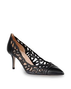 VALENTINO GARAVANI - Pump: Pump in calfskin leather with cut-out rose details. 65 mm heel.