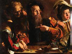 Caravaggio, 성 마태오의 순명 일부확대