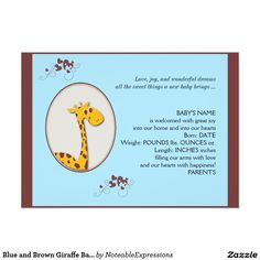 Blue and Brown Giraffe Baby Announcement