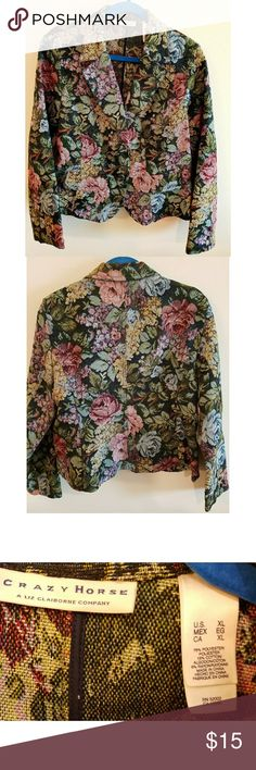 Crazy Horse Tapestry Jacket Beautiful unlined jacket.  Covered buttons on sleeves and front.  Flap pockets. Liz Claiborne Jackets & Coats