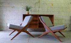 Mid Century Modern styled Pair of Scissor LOUNGE CHAIRS by CIRCA60