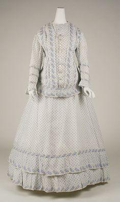 Dress, Morning-ca. 1860 MET - CCWC notes sacque & petticoat 2 pc-