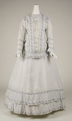 Dress, Morning-ca. 1860 MET - CCWC notes sacque & petticoat 2 pc-